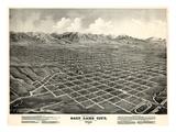 1875, Salt Lake City Bird's Eye View, Utah, United States Giclee-trykk