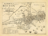1722, Boston Captain John Bonner Survey Reprinted 1867, Massachusetts, Etats-Unis Giclée