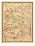 1887, Arizona State Map, United States Giclee-trykk
