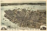 1872, Charleston Bird's Eye View, South Carolina, United States Giclée-Druck