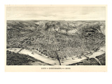 1900, Cincinnati Bird's Eye View, Ohio, United States Giclee-trykk
