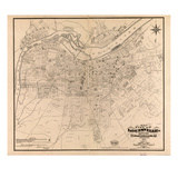1873, Louisville, KY - New Albany and Jeffersonville, IN 1873, Kentucky, United States Giclee-trykk