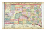 1912, South Dakota Map, South Dakota, United States Giclee-trykk