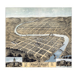 1871, Frankfort Bird's Eye View, Kentucky, United States Giclee-trykk