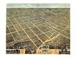 1871, Lexington Bird's Eye View, Kentucky, United States Giclee-trykk