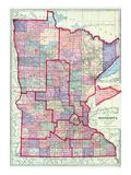 1912, Minnesota State Map, Minnesota, United States Giclee-trykk