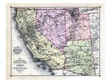 1879, California, Nevada, Utah, and Arizona States Map, California, United States Giclee-trykk