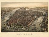 1873, New York City, 1873, Bird's Eye View, New York, United States Lámina giclée