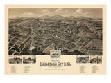 1891, Bedford City Bird's Eye View, Virginia, United States Giclee-trykk