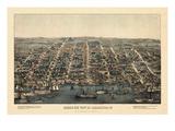 1863, Alexandria Bird's Eye View, Virginia, United States Giclee-trykk