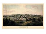 1857, Staunton Bird's Eye View, Virginia, United States Giclee-trykk