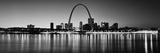 City Lit Up at Night, Gateway Arch, Mississippi River, St. Louis, Missouri, USA Premium fotografisk trykk