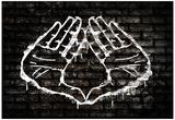 Illuminati Hand Sign Graffiti Poster