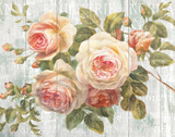 Vintage Roses on Driftwood Kunstdruck von Danhui Nai