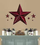 Barn Star Peel & Stick Giant Wal Decal - Burgundy Autocollant mural