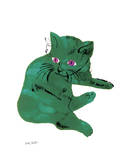 "Cat From ""25 Cats Named Sam and One Blue Pussy"" , c. 1954 (Green Cat) Print by Andy Warhol"