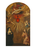 Adoration of the Sacred Heart of Jesus by Margaret Mary Alacocque, 1647-90, and an Angel, 1715 Giclee Print by  French School