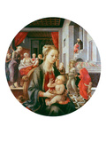 Virgin and Child with Life of Saint Anne and Birth of the Virgin, Tondo, 1452 Giclée-tryk af Fra Filippo Lippi
