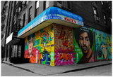 Graffiti on storefronts in NYC Plakat
