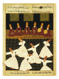 Konya Whirling Dervishes Ritual, 16th Century, Ottoman Miniature of the Anatolian School Giclée-Druck