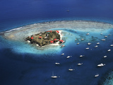 Aerial View of Marina Cay Island and Fringing Reef Photographic Print by Mauricio Handler
