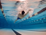 A Man Swimming the Back Stroke in an Indoor Swimming Pool Lámina fotográfica por Perry, Heather