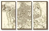 Sepia Map of Rome Prints