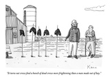 """""""It turns out crows find a bunch of dead crows more frightening than a man…"""" - New Yorker Cartoon Premium Giclee Print by Zachary Kanin"""