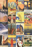 Vacation in Europe - Vintage Style Poster Collage Print