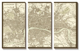 Sepia Map of London Prints