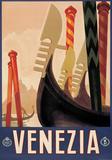 Venezia Gondole (Venice Gondola) Italian Vintage Style Travel Poster Plakater