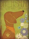 Dachsund Flower Market Poster von Stephen Fowler
