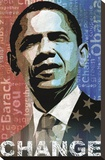 Obama: Change Stretched Canvas Print by Keith Mallett