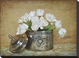 Vintage Tulips II Bedruckte aufgespannte Leinwand von Cristin Atria