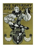 """Harlequin Mandolin Player,"" Saturday Evening Post Cover, April 4, 1931 Giclee Print by Elbert Mcgran Jackson"