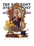 """Primping in Mirror,"" Saturday Evening Post Cover, April 11, 1936 Giclee Print by Joseph Christian Leyendecker"