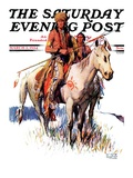 """""""Plains Indians,"""" Saturday Evening Post Cover, March 3, 1934 Giclee Print by William Henry Dethlef Koerner"""