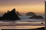 Moonset Stretched Canvas Print by Mike Jones