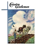 """""""Horse-Drawn Plow,"""" Country Gentleman Cover, March 1, 1939 Giclee Print by Paul Bransom"""