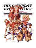 """""""Little Cowboy Takes a Licking,"""" Saturday Evening Post Cover, August 20, 1938 Giclee Print by Joseph Christian Leyendecker"""