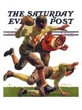 """Quarterback Pass,"" Saturday Evening Post Cover, October 12, 1935 Giclee-trykk av Maurice Bower"