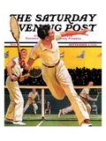 """""""Doubles Tennis Match,"""" Saturday Evening Post Cover, September 5, 1936 Impressão giclée por Maurice Bower"""