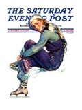 """""""Woman Skater,"""" Saturday Evening Post Cover, January 21, 1933 Giclée-tryk af Guy Hoff"""
