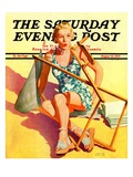 """""""Broken Beach Chair,"""" Saturday Evening Post Cover, August 12, 1939 Giclee Print by John Hyde Phillips"""