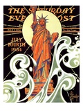 """""""Statue of Liberty,"""" Saturday Evening Post Cover, July 7, 1934 Giclee Print by Joseph Christian Leyendecker"""
