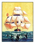 """Dolphins and Ship,""September 29, 1934 Premium Giclée-tryk af Gordon Grant"
