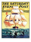 """Dolphins and Ship,"" Saturday Evening Post Cover, September 29, 1934 Giclée-tryk af Gordon Grant"