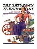 """""""Geranium Gardener,"""" Saturday Evening Post Cover, May 1, 1937 Giclee Print by W.D. Stevens"""