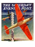 """""""Airshow,"""" Saturday Evening Post Cover, September 4, 1937 Giclee Print by Clayton Knight"""