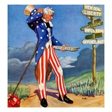 """""""Uncle Sam at the Crossroads,""""October 1, 1936 Giclee Print by Frank Lea"""